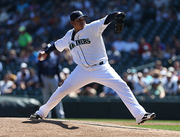 Felix Hernandez #34 of the Seattle Mariners pitches a perfect game against the Tampa Bay Rays