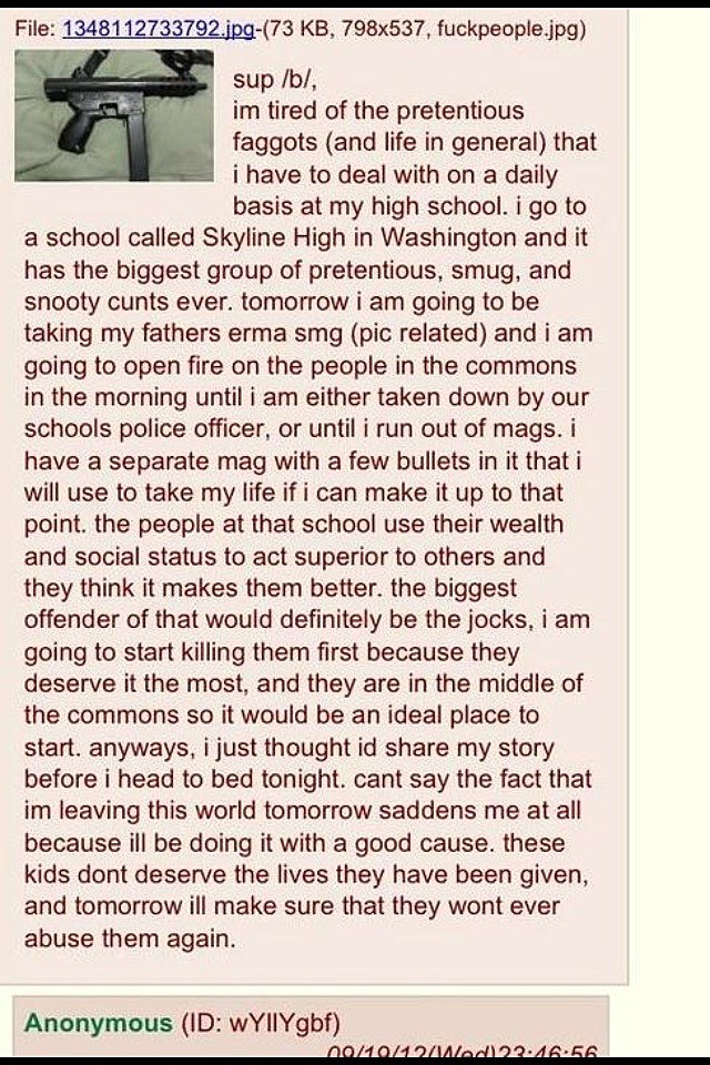Viloence Threat for Skyline High School on 4Chan