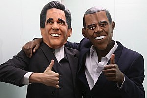 Mitt Romney and Barrack Obama masks
