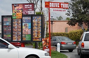 Car queue at the McDonalds drive-through