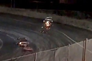 Boat goes airborne during trailer race at Hermiston Super Oval