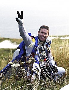 Felix Baumgartner gives a peace sign