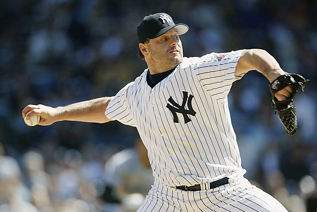Roger Clemens pitches