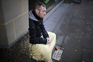 Homeless People Brave The Cold Weather